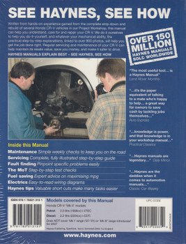 Honda CR-V Petrol, Diesel 2002 -2006 Workshop Manual (9781785213151)