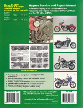 Honda XL125V Varadero VT125C Shadow 1999 - 2011 Workshop Manual