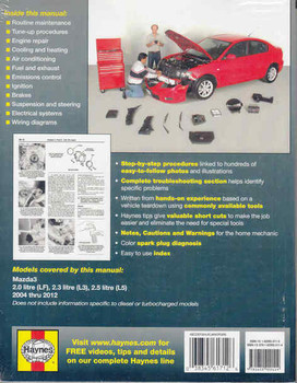 Mazda3 2004 - 2012 Workshop Manual (9781620920114)