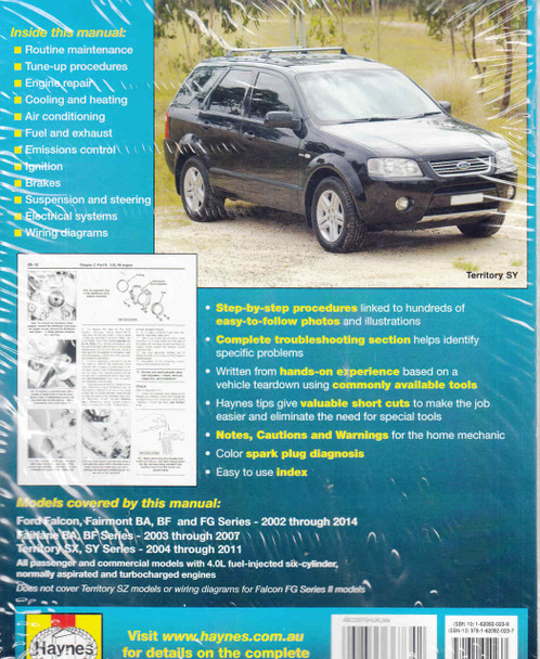 Ford Falcon BA , BF and FG Series, Territory SX and SY Series 2002 - 2014  Workshop Manual