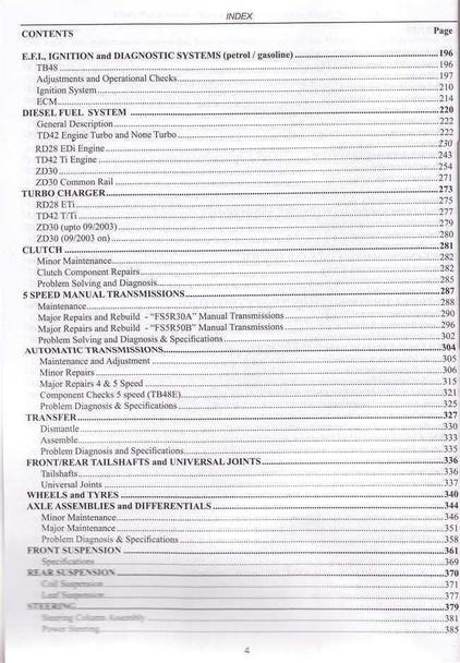 Nissan Patrol Petrol, Diesel, Turbo TB42, TB45, TB48, RD28, TD42, ZD30 1998  - 2009 Workshop Manual
