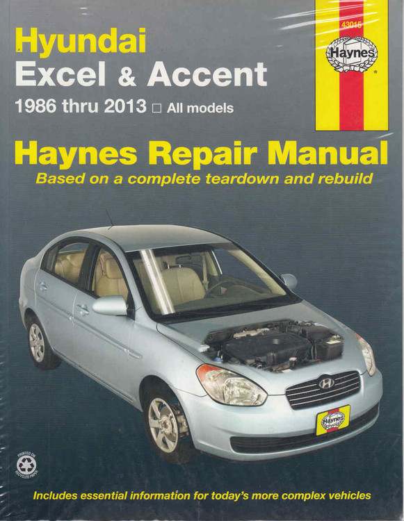 Hyundai Excel & Accent 1986 - 2013 Workshop Manual (038345015526)