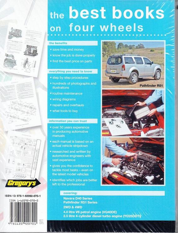 Nissan Navara, Pathfinder D40 & R51 Petrol, Diesel 2005 - 2013 Workshop Manual Back
