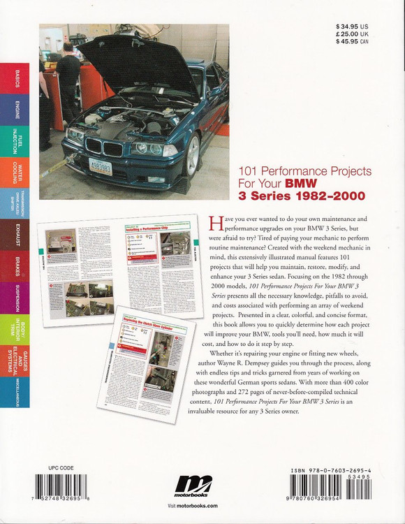 101 Performance Projects for Your BMW 3 Series 1982-2000 Back Cover