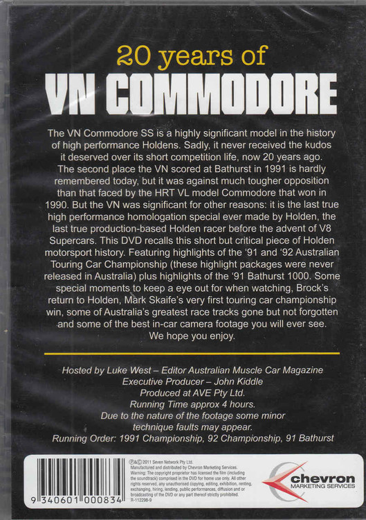 20 Years of VN Commodore DVD - back