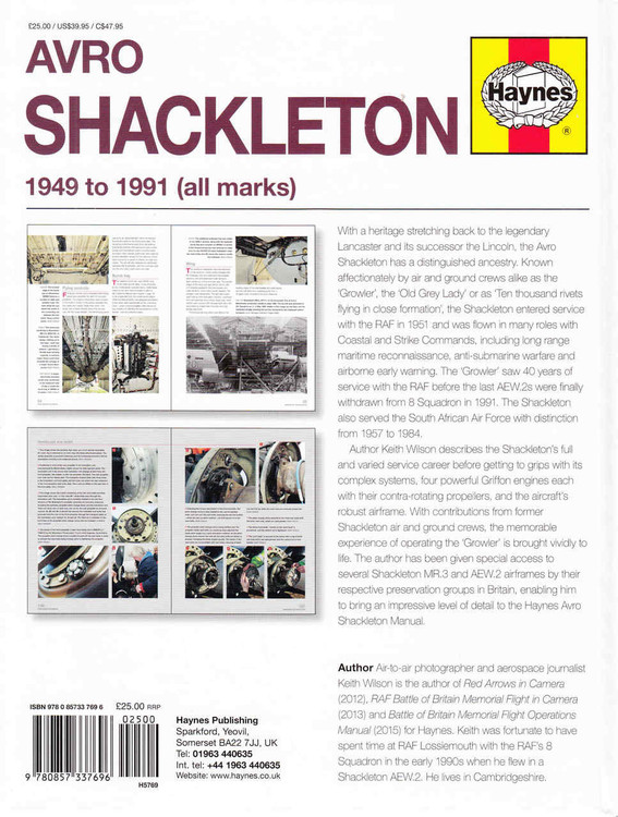 Avro Shackleton 1949 to 1991 (all marks) Owners' Workshop Manual  - back