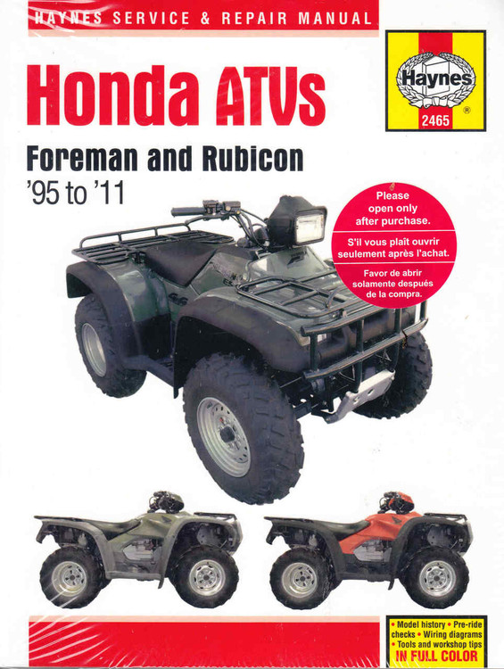 Honda ATVs Foreman and Rubicon 1995 - 2011 Workshop Manual (9781620921975) - front