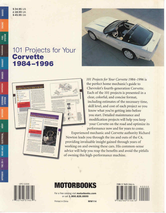 101 Projects For Your Corvette 1984 - 1996 (9780760314616) - back