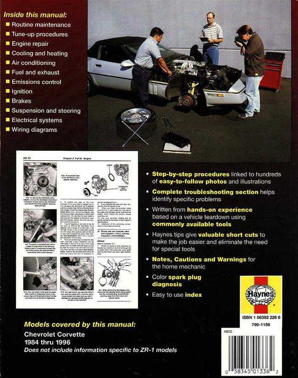 Chevrolet Corvette 1984 - 1996 Workshop Manual