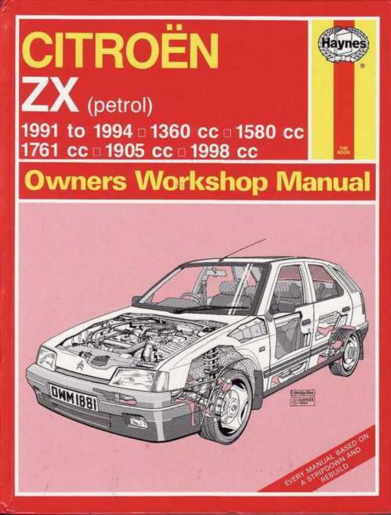 Citroen ZX (petrol) 1991 - 1994 Workshop Manual