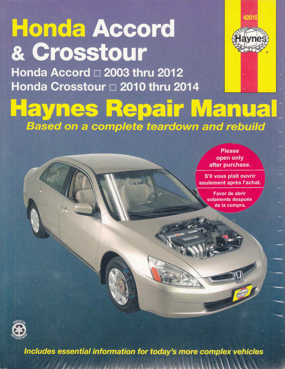 Honda Accord 2003 - 2014 Workshop Manual