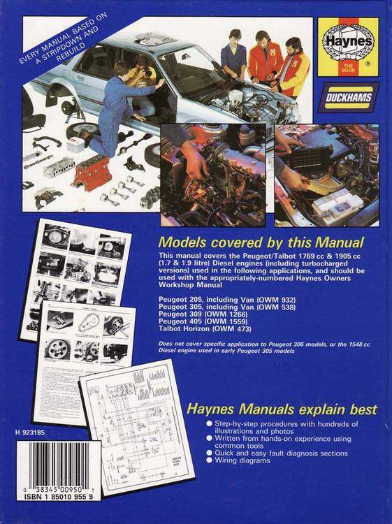 Peugeot / Talbot Diesel Engine 1982 - 1994 Workshop Manual