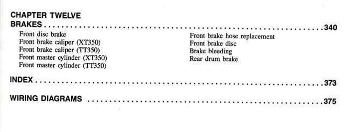 Yamaha XT350 and TT350 1985 - 2000 Workshop Manual on