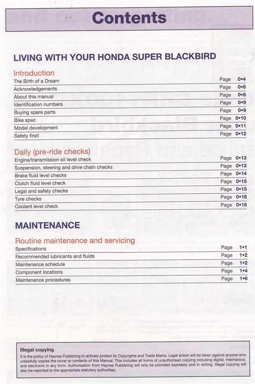 Honda CBR1100XX Super Blackbird 1997 - 2007 Workshop Manual