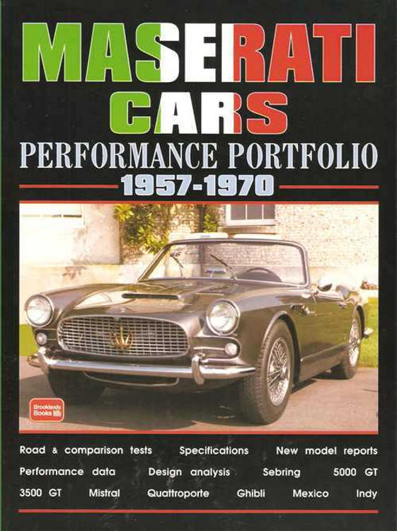 Maserati Cars Performance Portfolio 1957 - 1970