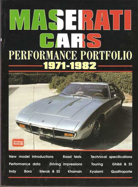 Maserati Cars Performance Portfolio 1971 - 1982