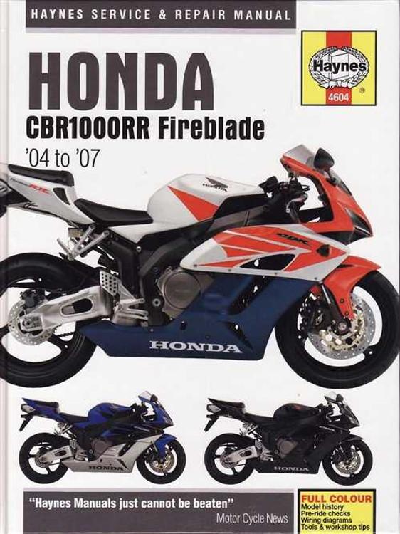 Honda CBR1000RR Fireblade, 998cc 2004 to 2007 Workshop Manual