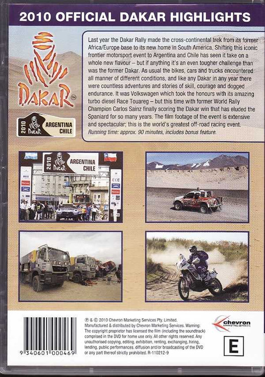 2010 Official Dakar Highlights: The Greatest Off-Road Adventure DVD