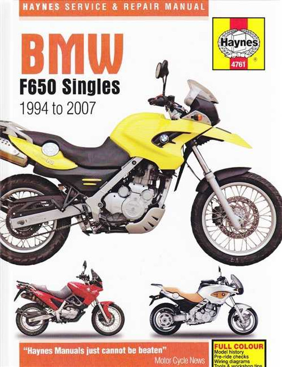 BMW F650 Singles 1994 - 2007 Workshop Manual