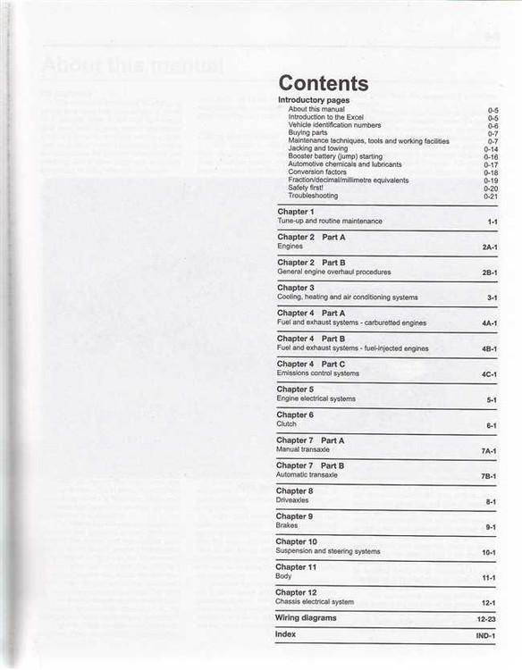 Hyundai Excel 1 5 Litre 1986 2000 Workshop Manual