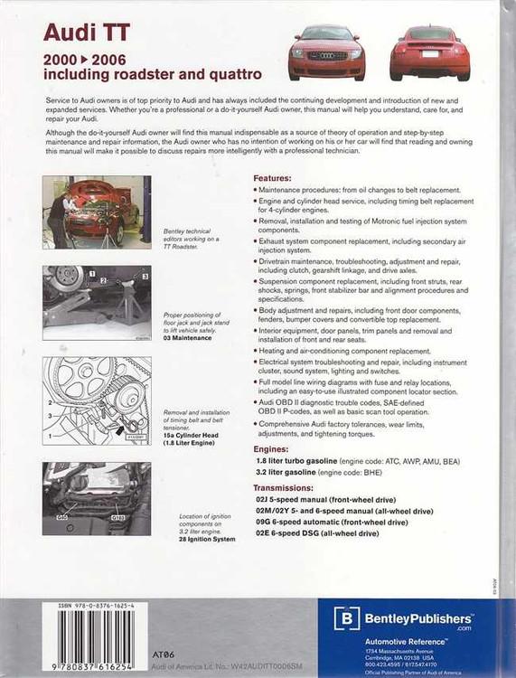 Audi TT 1.8L turbo, 3.2L petrol 2000 - 2006 Workshop Manual