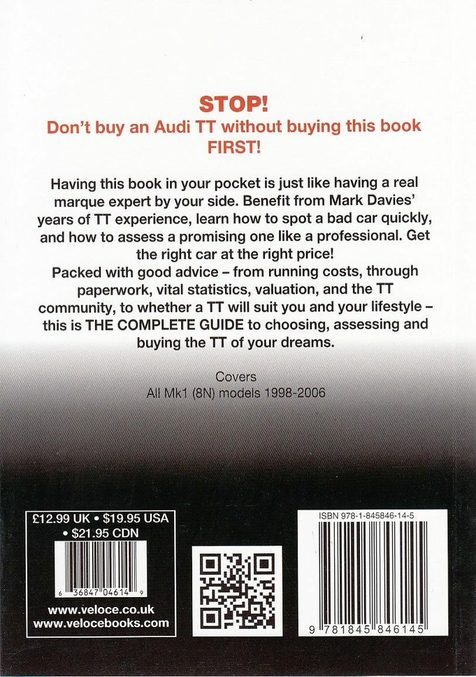 Audi TT All Mk1 (8N) models 1998 - 2006: The Essential Buyer's Guide Back Cover