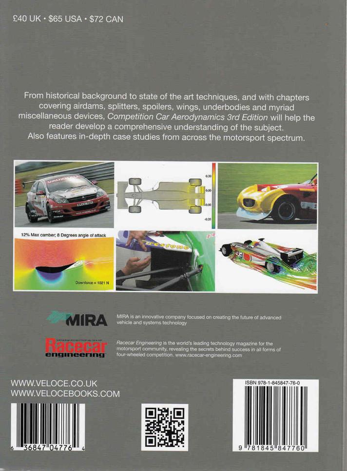 Competition Car Aerodynamics: A Practical Handbook New 3rd Edition - back