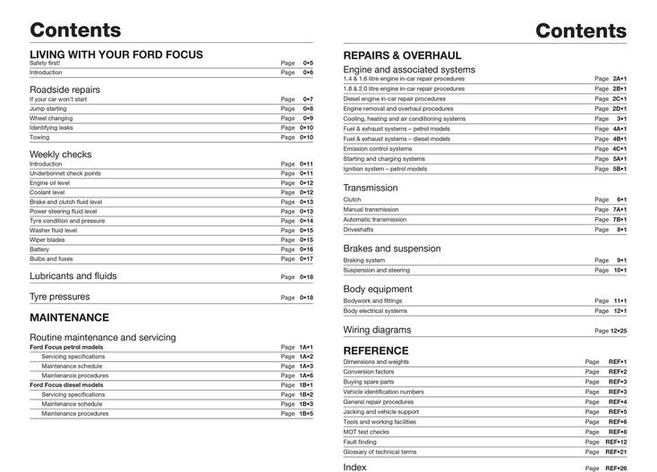 Ford Focus Petrol & Diesel (Oct 2001 - 2005) Haynes Repair Manual