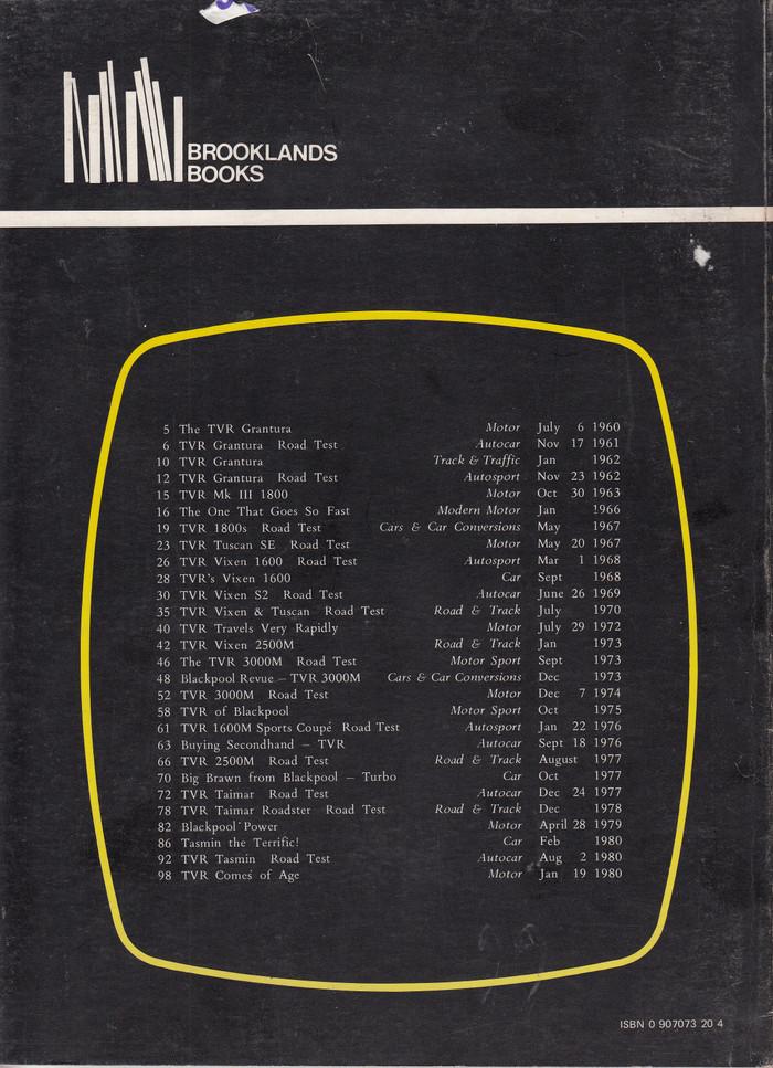 TVR 1960-1980 Road Tests (0907073204)