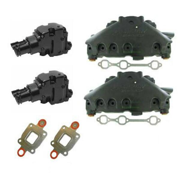 (14 Degree) DRY JOINT OEM MerCruiser 4.3 V6 Exhaust Manifold and Riser Kit