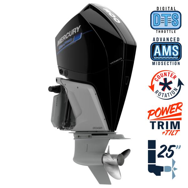 "New Mercury 300CXL SeaPro AMS 5.44"" 1.75  25"" Shaft Power Trim & Tilt Outboard 13000090A"