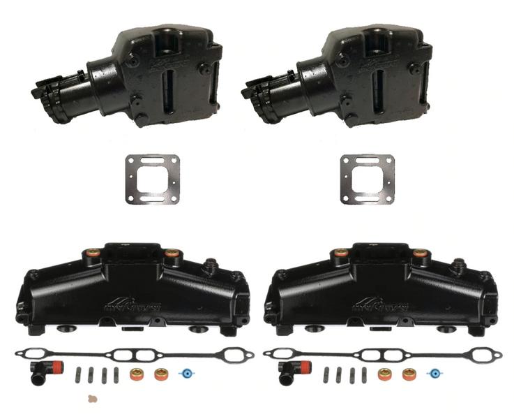 OEM MerCruiser 305/350  Exhaust Manifold & Riser Kit - 5.7 / 5.0 / 6.2 E-Coated (1986-2002)