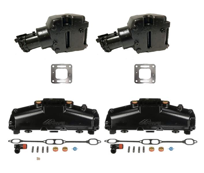 OEM MerCruiser 305/350 Ceramic Coated Exhaust Manifold & Riser Kit - 5.7 / 5.0 / 6.2 (1986-2002)