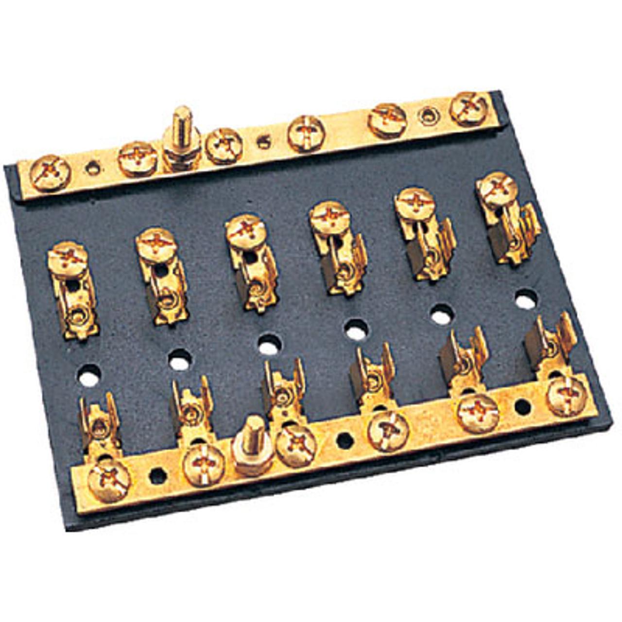 6 Terminal Fuse Block Bakelite Fuse Block w Brass Clips