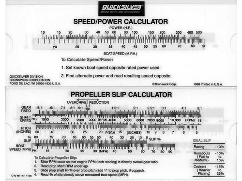 OEM Quicksilver/Mercury Propellor Slip Calculator 90-86147A 1