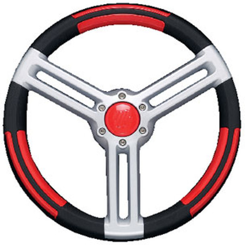 Uflex Steering Wheel Black Red Silver Doriabr