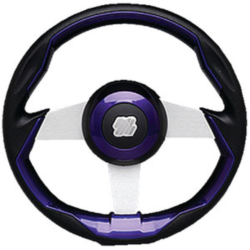 Uflex Steering Wheel-Black/Brl Grip Silv Grimani Pl/S