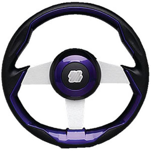 Uflex Steering Wheel-Black/Brl Grip Silv Grimani Pl/S