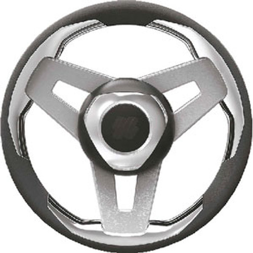 Uflex Steering Wheel-Black Grip Slvr Spk Loredan B/S/Ch