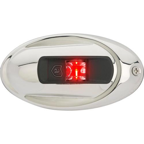 Attwood LightArmor Vertical Surface Mount Navigation Light - Oval - Port (red) - Stainless Steel - 2NM NV4012SSR-7