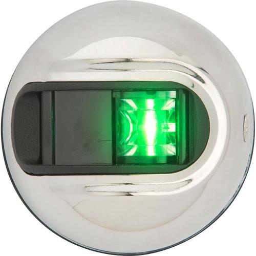 Attwood LightArmor Vertical Surface Mount Navigation Light - Starboard (Green) - Stainless Steel - 2NM NV3012SSG-7