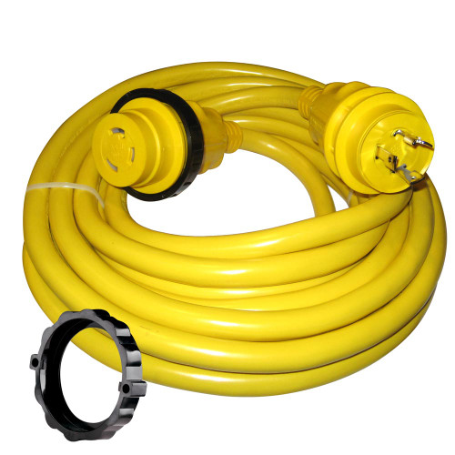 Marinco 30 Amp Power Cord Plus Cordset - 35' - Yellow