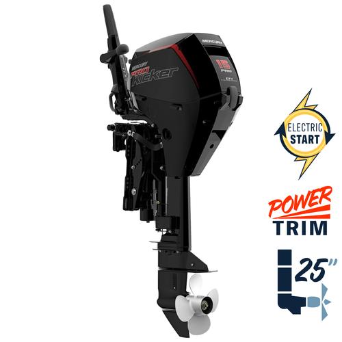"New Mercury 15EXLHPT EFI ProKicker 25"" Shaft Power Trim Four Stroke Tiller Outboard 1A15461BK"
