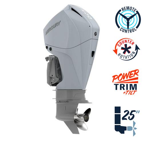 "New Mercury 200CXL FourStroke Cold Fusion White 4.8"" 1.85  25"" Shaft Power Trim & Tilt Remote Outboard 12000030A"