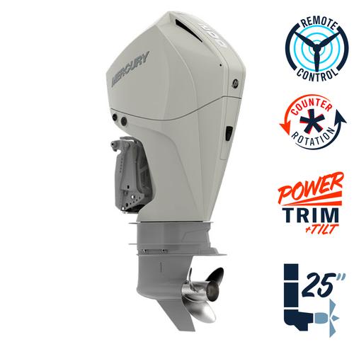 "New Mercury 200CXL FourStroke Warm Fusion White 4.8"" 1.85  25"" Shaft Power Trim & Tilt Remote Outboard 12000031A"