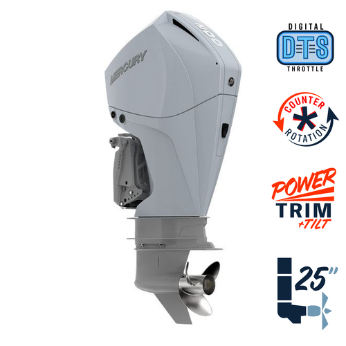 "New Mercury 200CXL FourStroke DTS Cold Fusion White 4.8"" 1.85  25"" Shaft Power Trim & Tilt Outboard 12000018A"