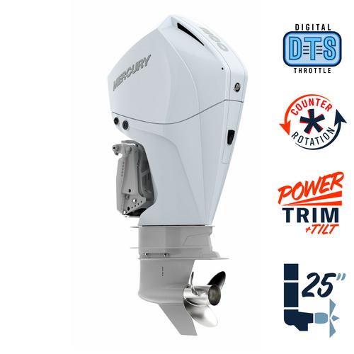 "New Mercury 200CXL FourStroke DTS Pearl Fusion White 4.8"" 1.85  25"" Shaft Power Trim & Tilt Outboard 12000020A"