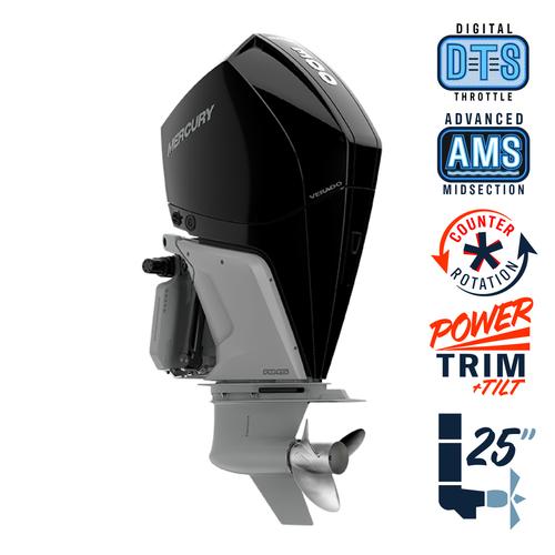 """New Mercury 300CXL Verado 5.44"""" 1.75 Cambered Skeg  25"""" Shaft Power Trim & Tilt Outboard 13000104A"""