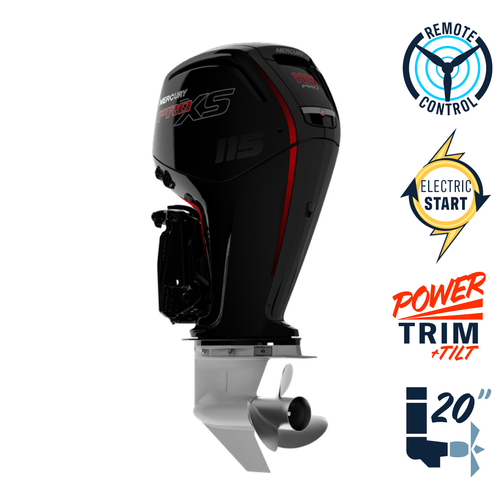 "New Mercury 115ELPT Pro XS  20"" Shaft Electric Start Power Trim & Tilt Remote Outboard 1117F131D"