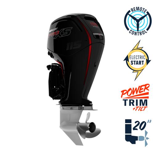 "New Mercury 115ELPT Pro XS Command Thrust  20"" Shaft Electric Start Power Trim & Tilt Remote Outboard 1117F531D"